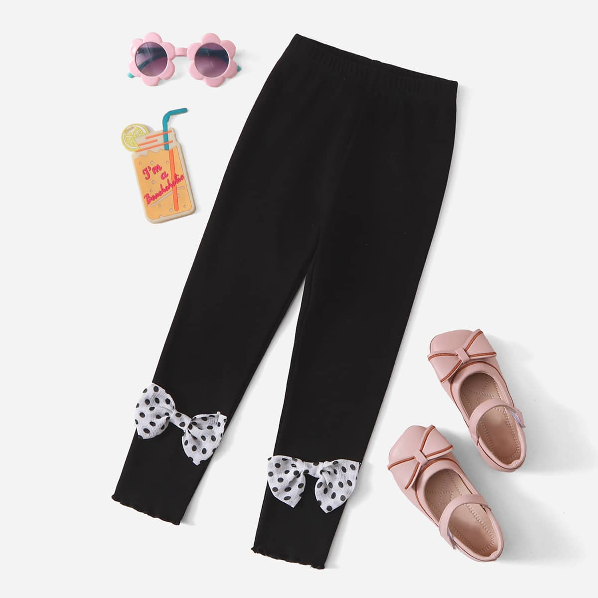 Toddler Girls Polka Dot Bow Front Leggings, SHEIN  - buy with discount