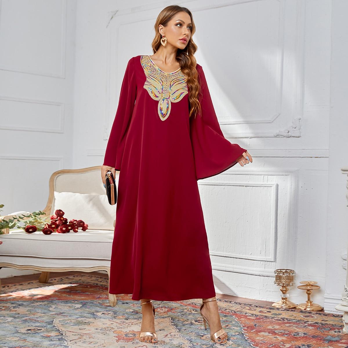 Контрастные блестки Контрастный цвет Очаровательный Арабские платья