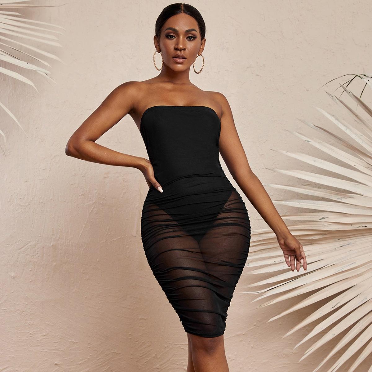 Однотонное облегающее платье-бандо SheIn swdress44210429133