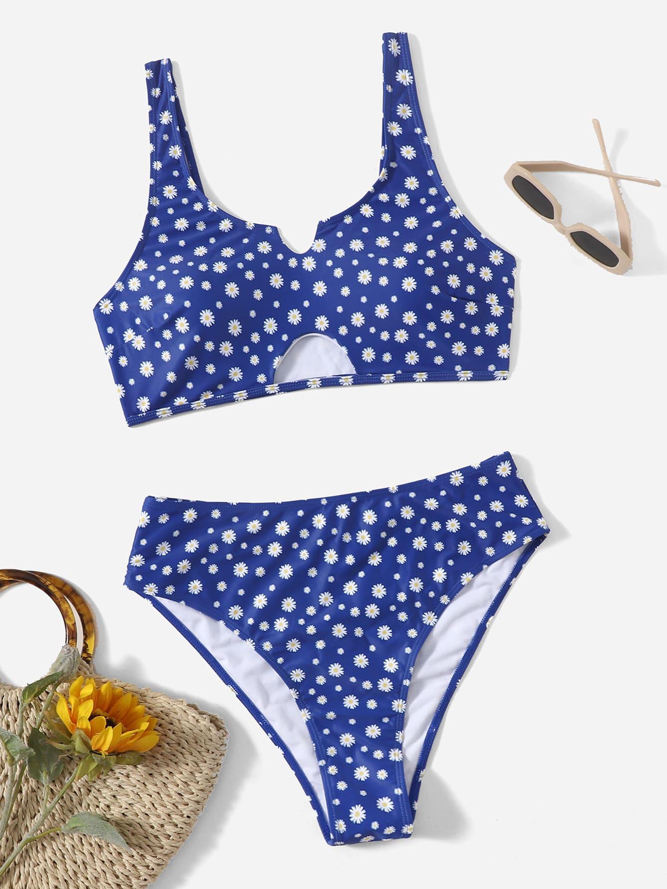 Plus Daisy Floral Cut-Out Bikini Swimsuit