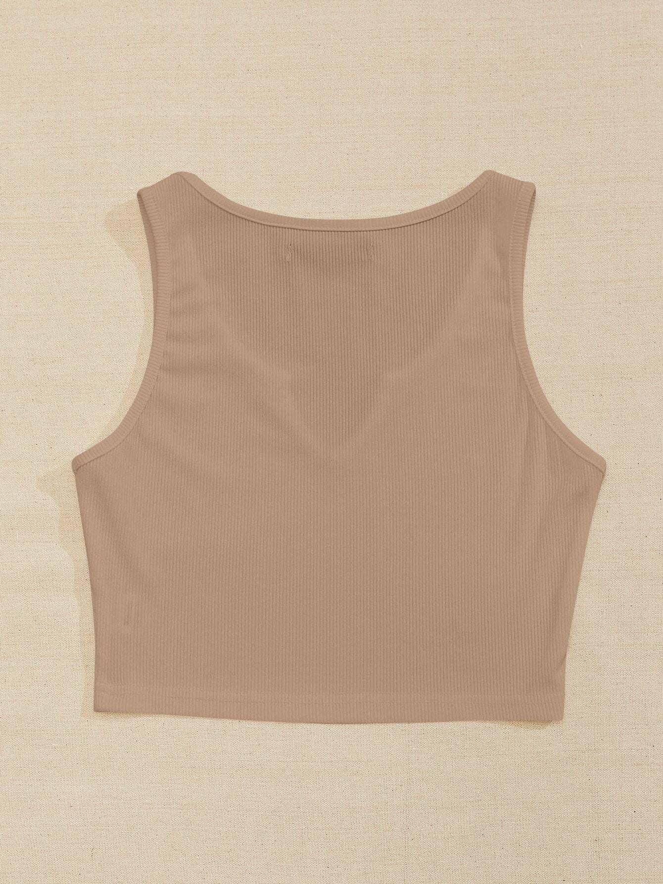 Notch Neck Rib-knit Tank Top