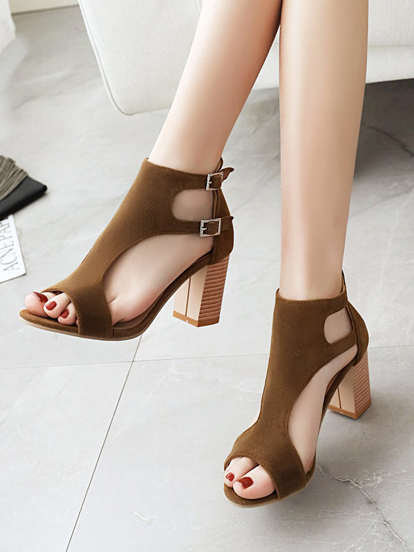 Minimalist Cut Out Chunky Sandals Boots