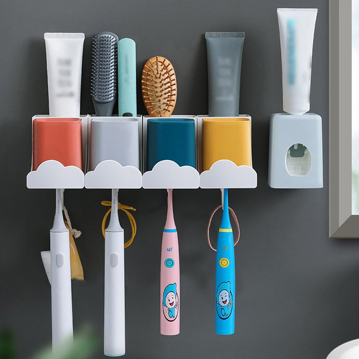 1 pieza Estantes de almacenaje & 4 piezas Taza para hacer gárgaras & 1 pieza Dispensador de pasta de dientes