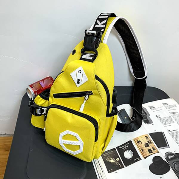 Kids Letter Graphic Buckle Decor Sling Bag, Yellow