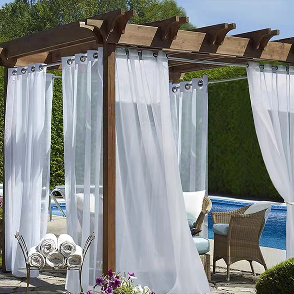 Solid Color Single Panel Waterproof Curtain, SHEIN  - buy with discount