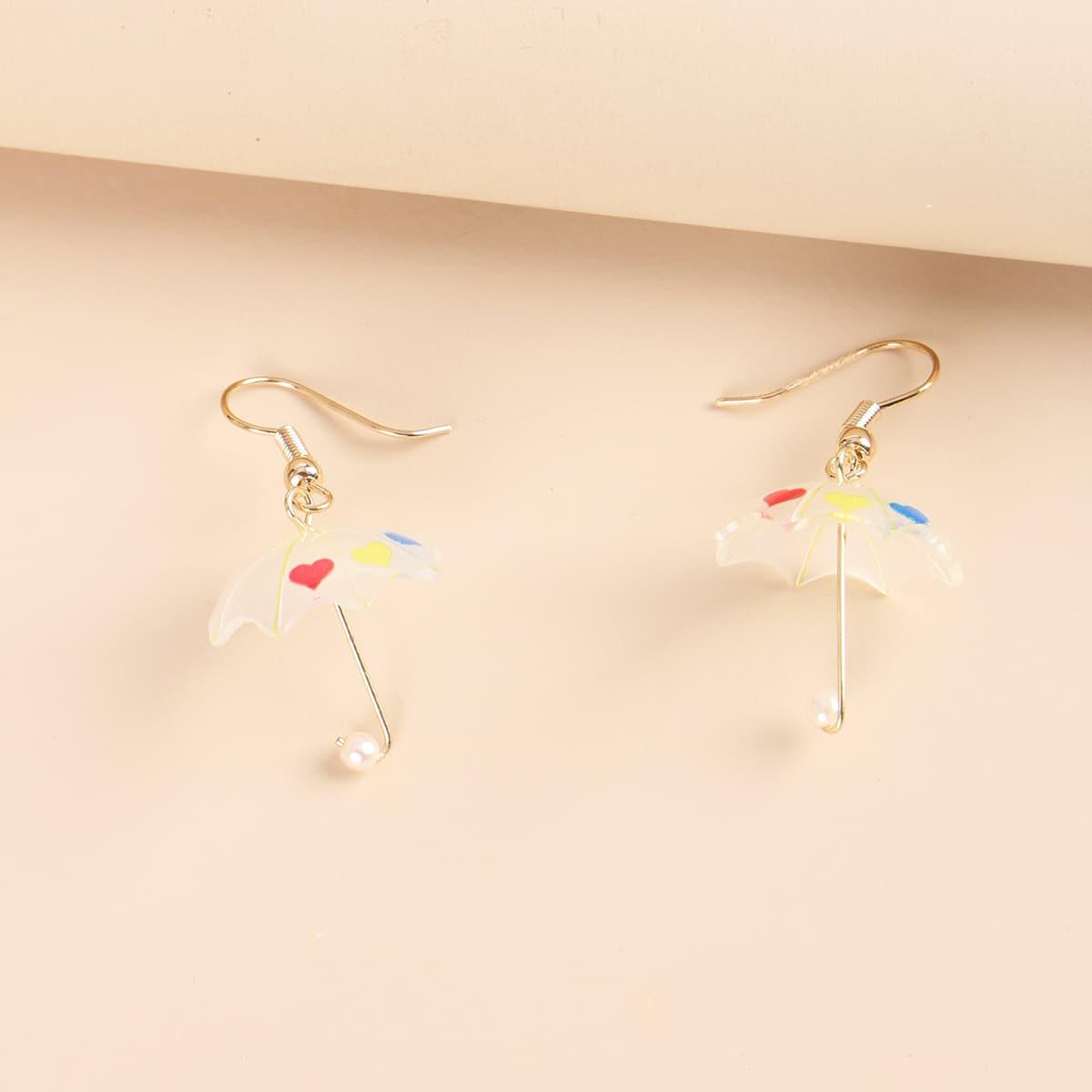 с искусственным жемчугом Зонт с декором Серьги-подвески от SHEIN