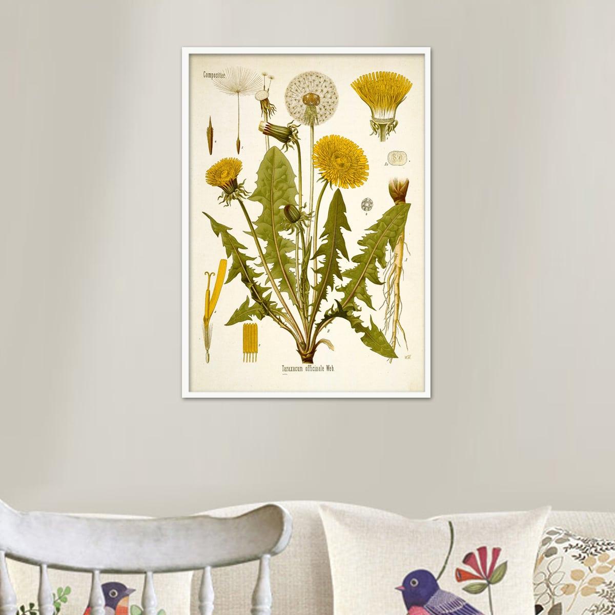 Картина без рамы с принтом растений