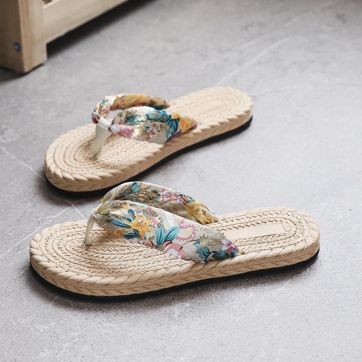 Вьетнамки с цветочным принтом SheIn swshoes25210615330