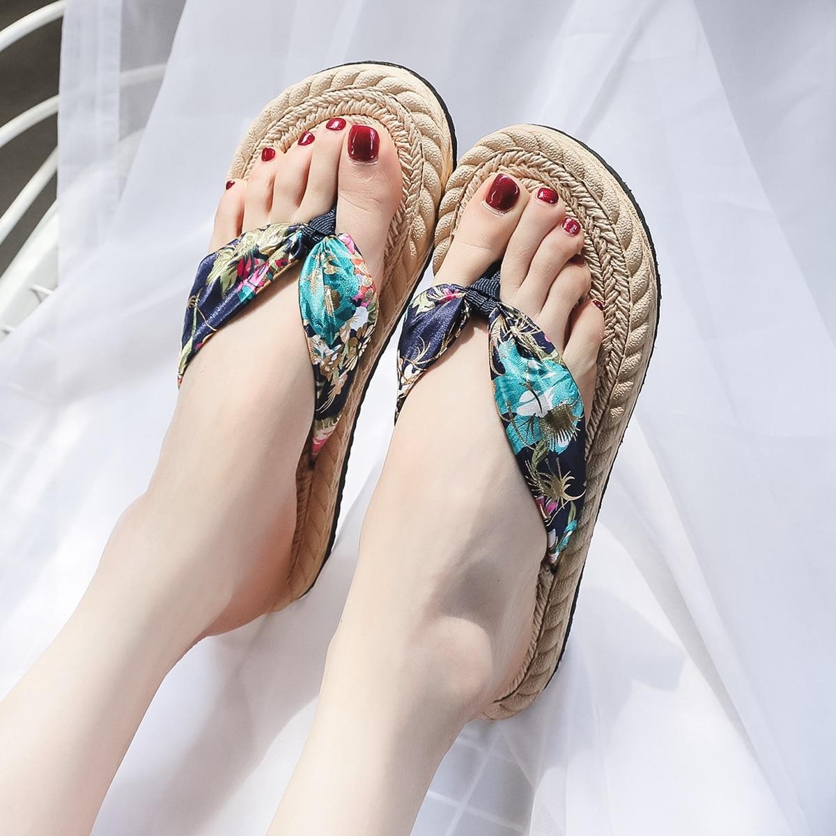 Вьетнамки с цветочным принтом SheIn swshoes25210615749