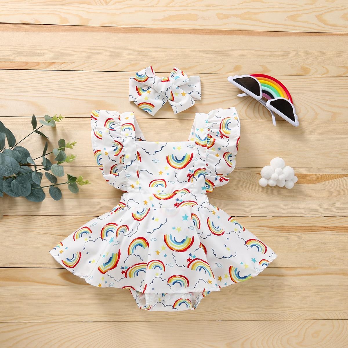 для девочек с принтом радуги Составной комплект Боди Платье с Ободок для волос от SHEIN