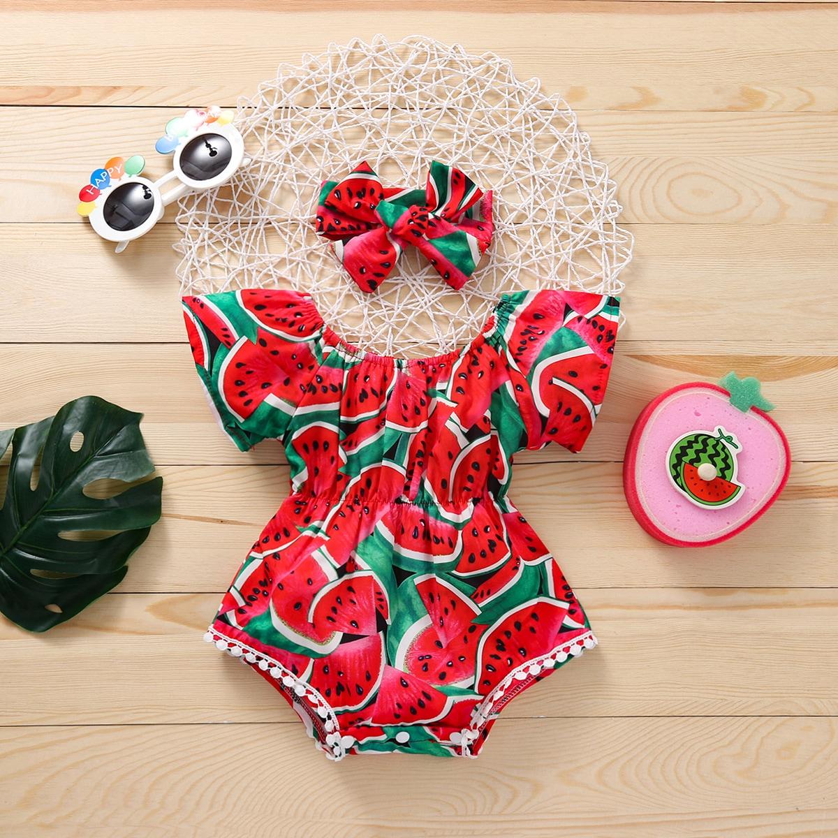 Baby Girl Watermelon Print Bodysuit With Headband, SHEIN  - buy with discount