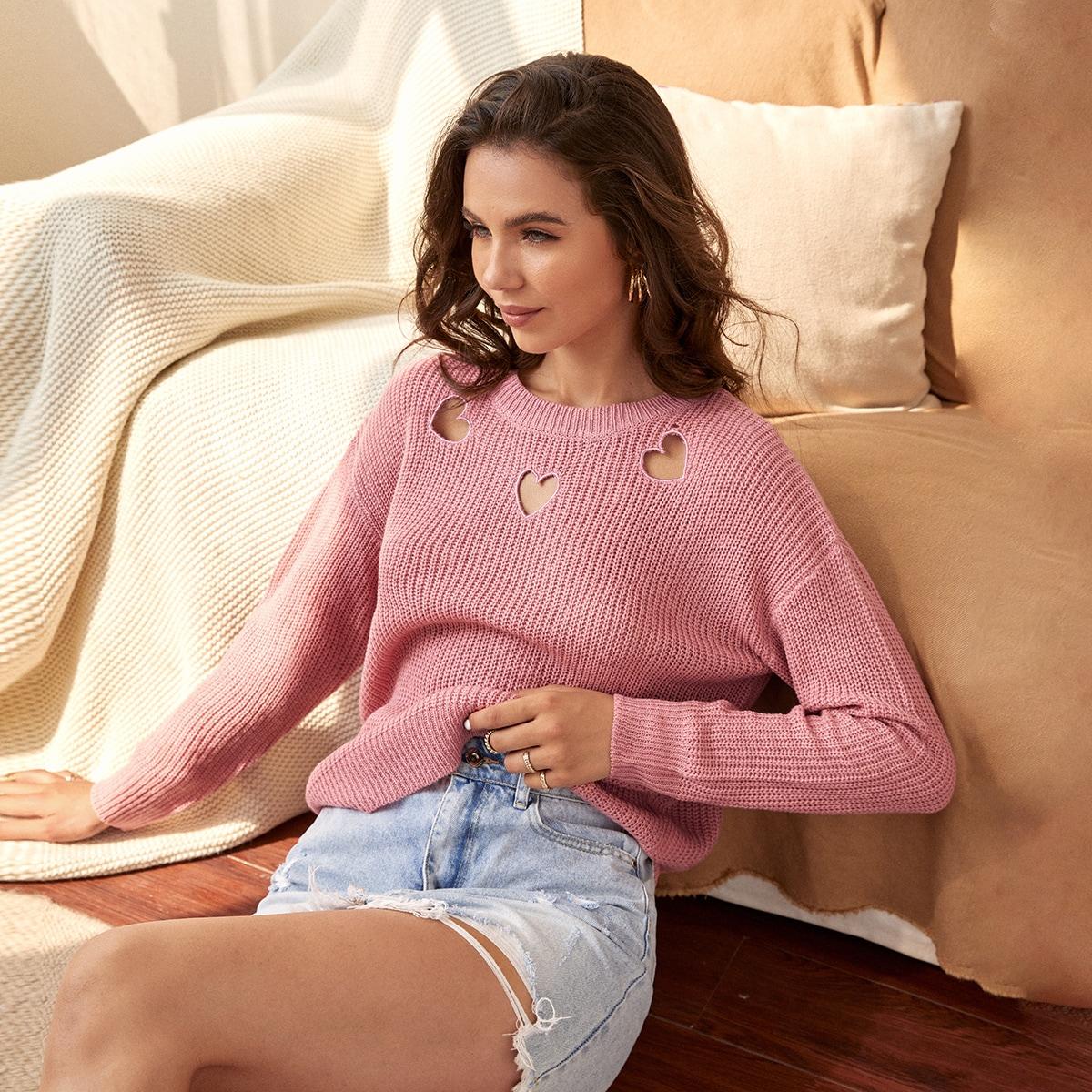 Solid Heart Cut Drop Shoulder Sweater