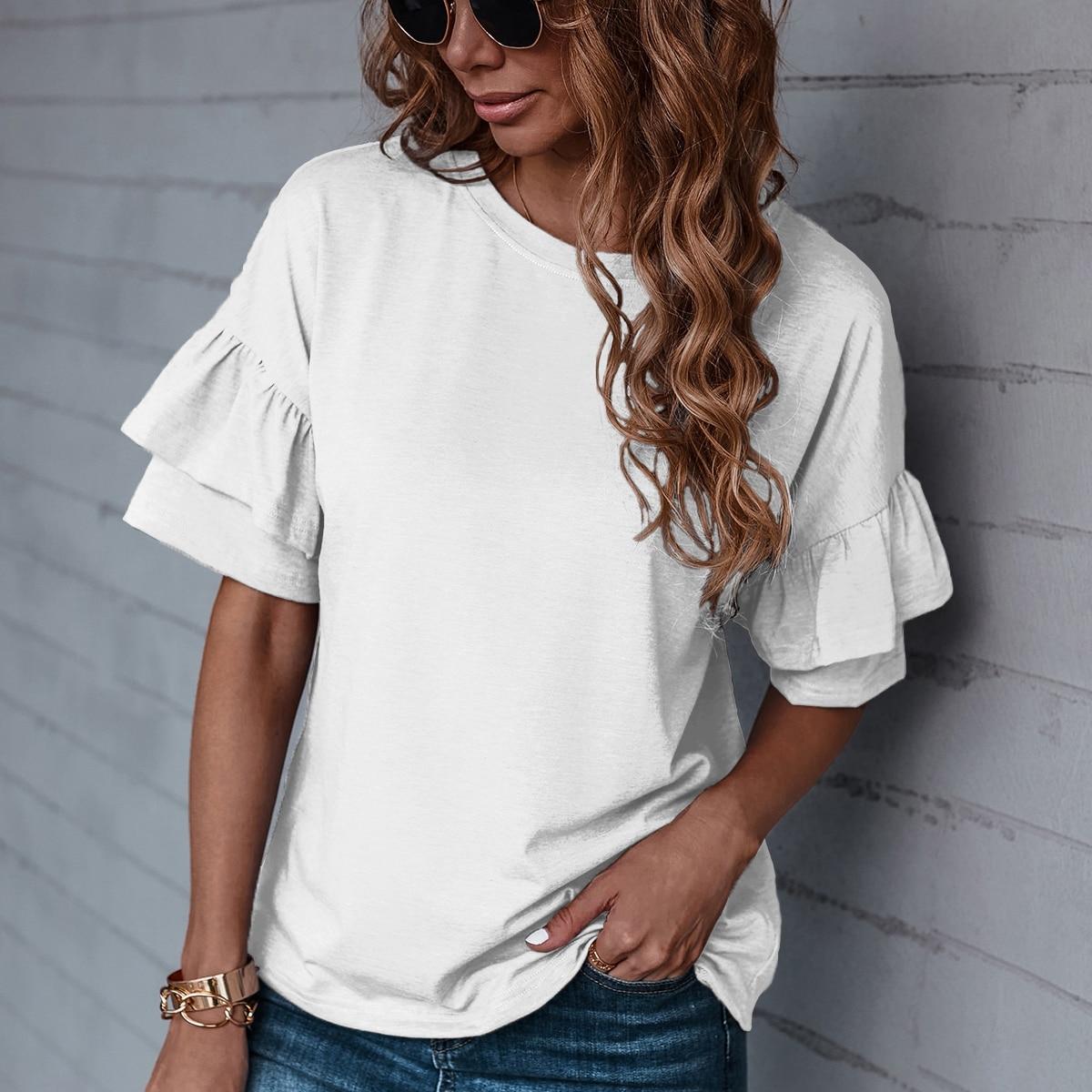 Однотонная футболка SheIn swtee23210609438