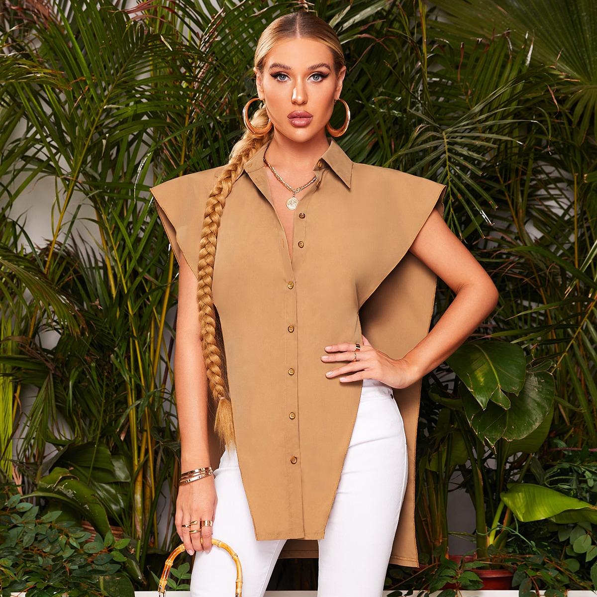 Блуза с подплечниками на пуговицах SheIn swblouse23210519627