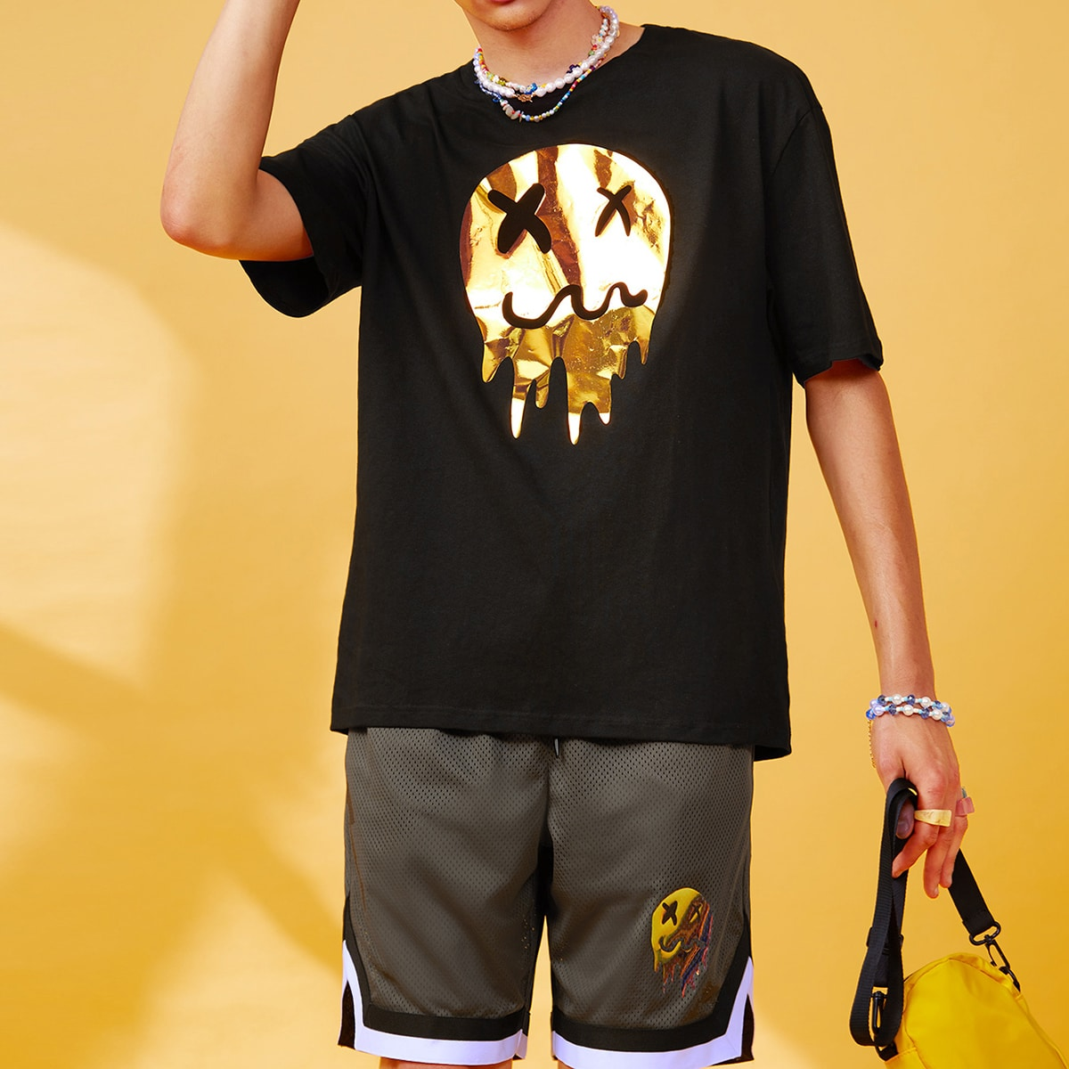 Men Cartoon Graphic Tee And Striped Trim Mesh Shorts Set, SHEIN  - buy with discount