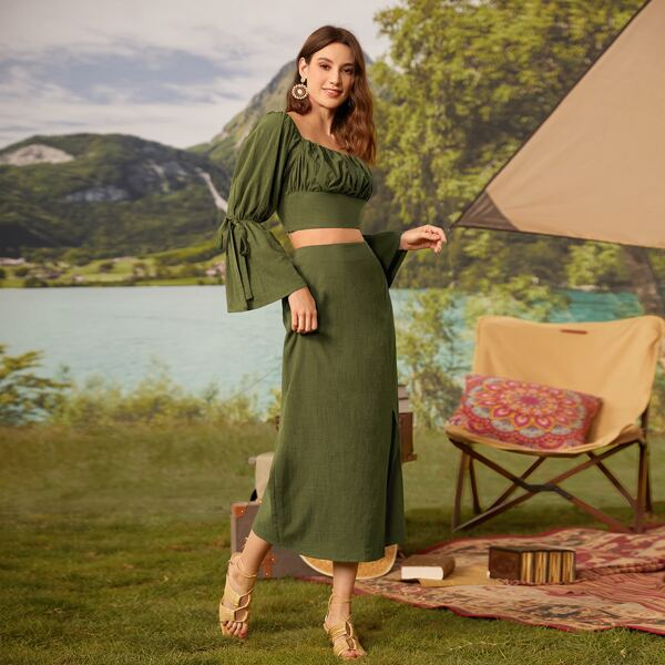 Knot Flounce Sleeve Ruched Bust Crop Top & Split Skirt Set, Army green