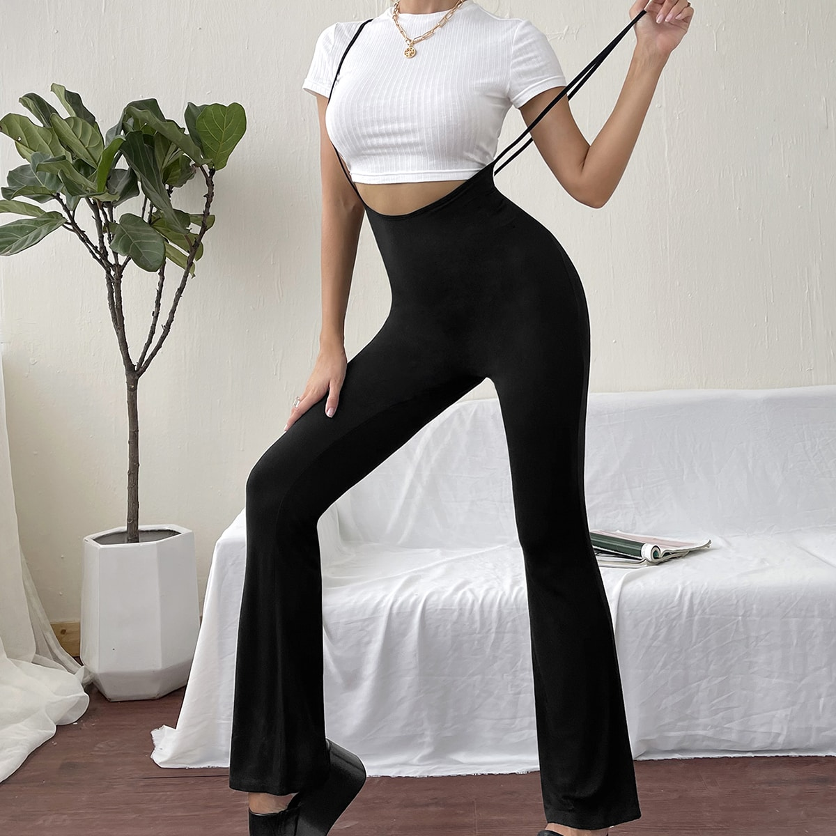 Solid Flare Leg Overall Jumpsuit, SHEIN  - buy with discount