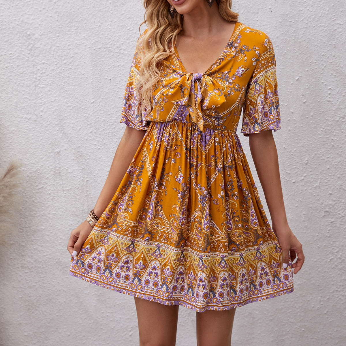 Paisley Print Tie Front Swing Dress, SHEIN  - buy with discount