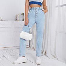 Paper Bag Waist Button Fly Jeans