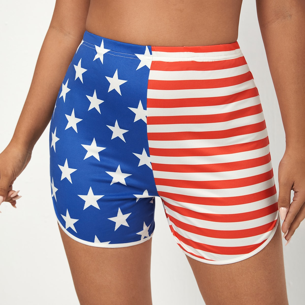 Plus Stripe & Star Print Shorts, SHEIN  - buy with discount