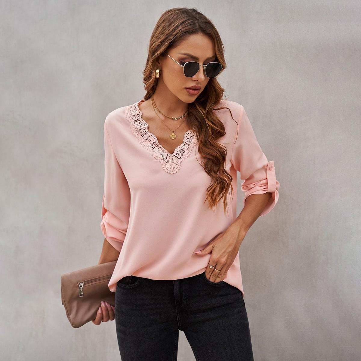 Блуза с кружевом SheIn swblouse23210615754