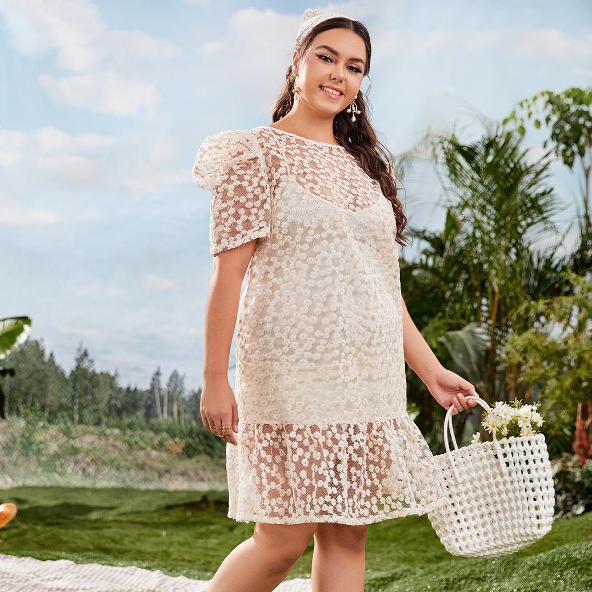 Plus Puff Sleeve Embroidery Mesh Overlay Dress
