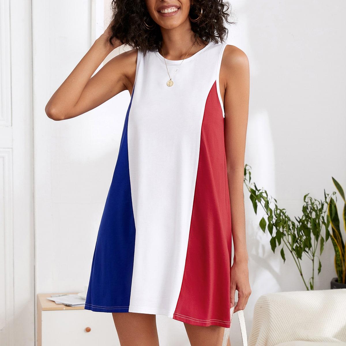 Платье без рукавов комбинированным принтом SheIn swdress44210514834