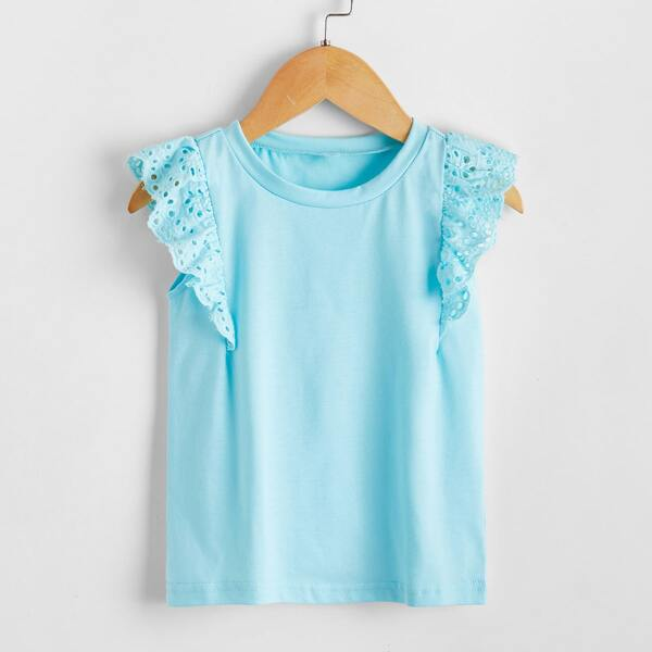Toddler Girls Contrast Eyelet Embroidery Ruffle Tee, Baby blue