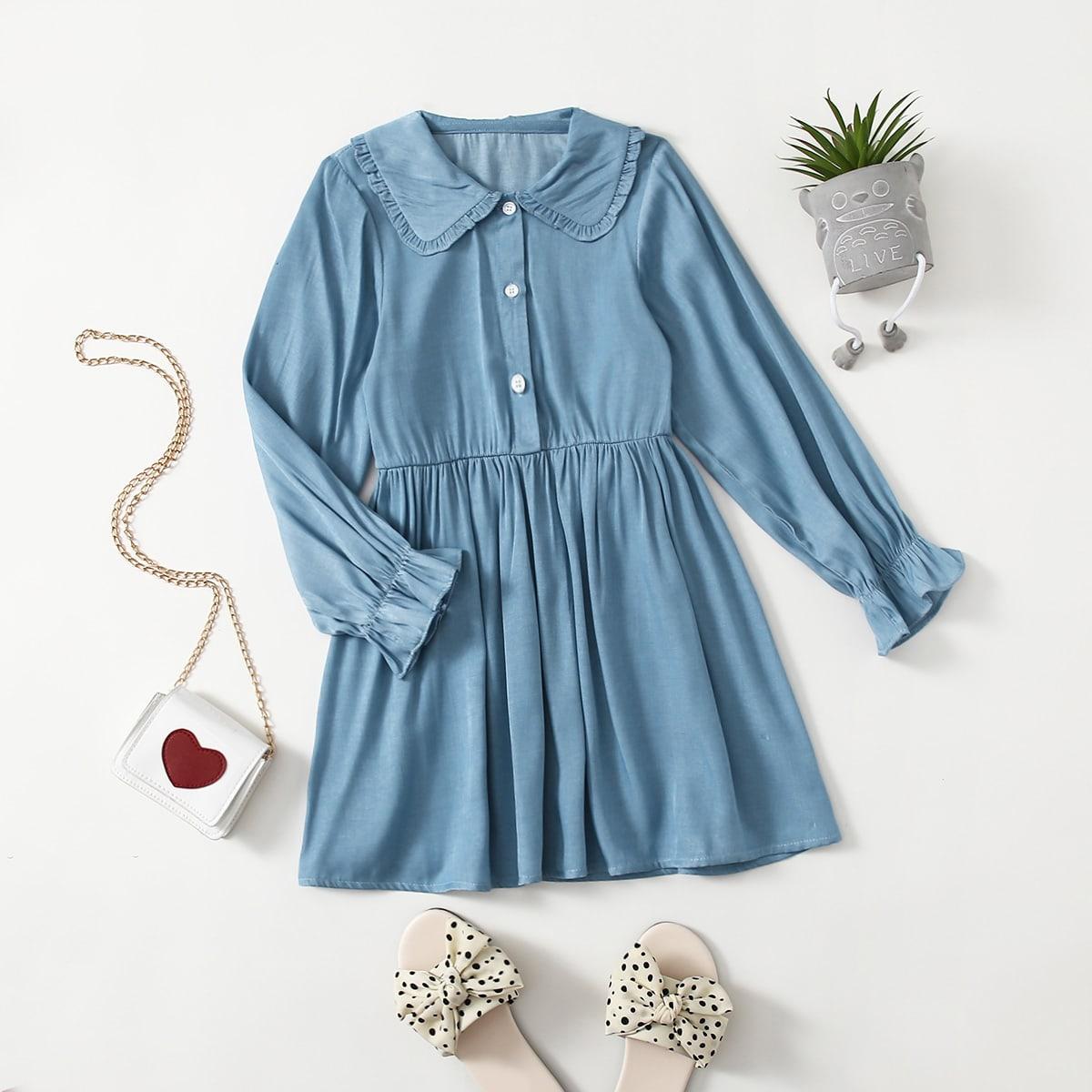 Girls Doll Collar Flounce Sleeve Shirt Dress