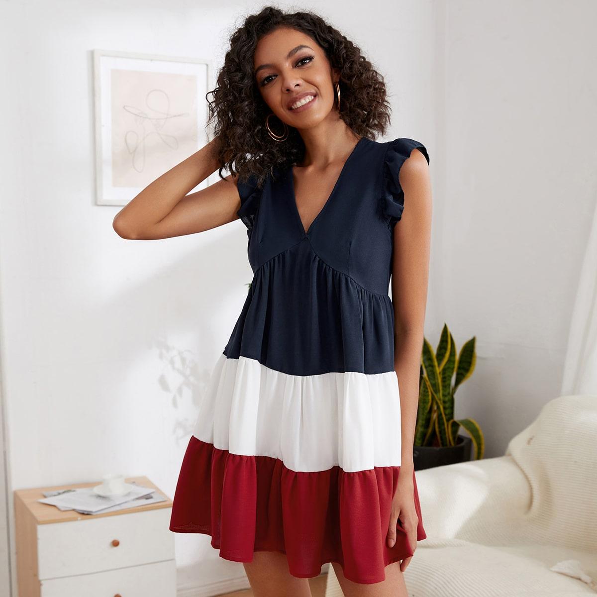 Платье комбинированным принтом с оборкой SheIn swdress44210525545