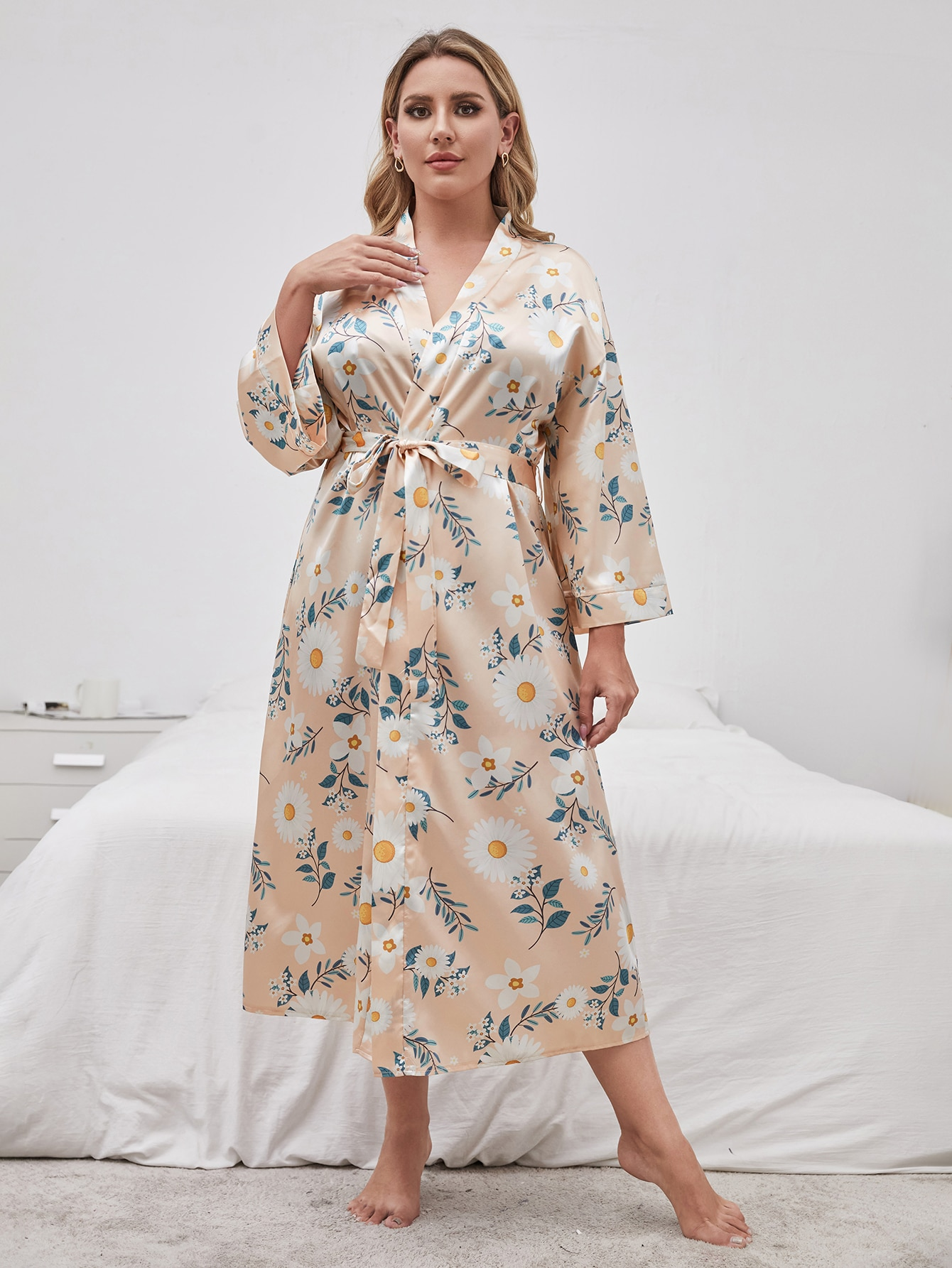 Plus Satin Belted Allover Floral Robe