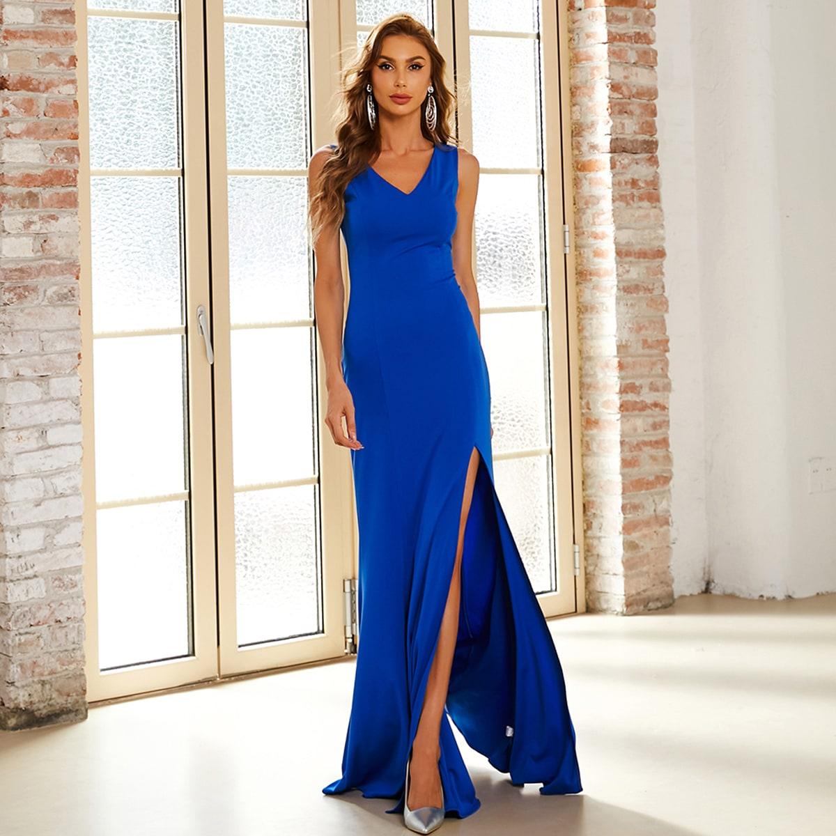 двойной Выпускное платье с v-образным вырезом высоким разрезом от SHEIN