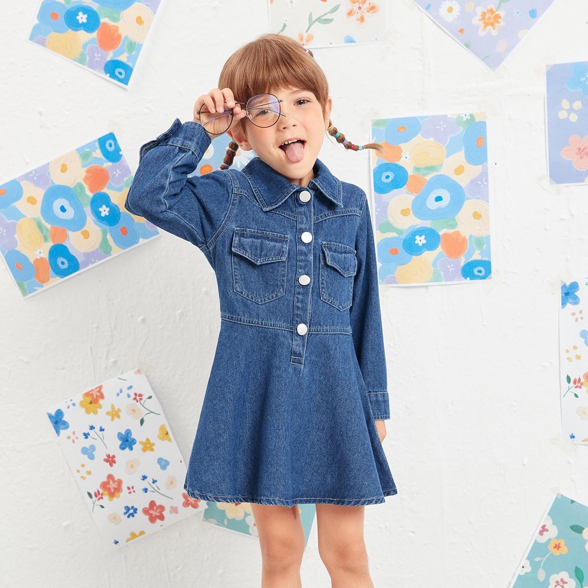 для девочек Джинсовое платье на пуговицах SheIn skdress25210602300