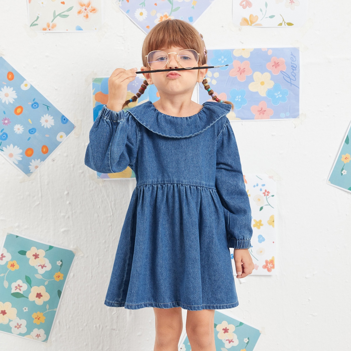 для девочек Платье пуговица сзади джинсовый SheIn skdress25210602242