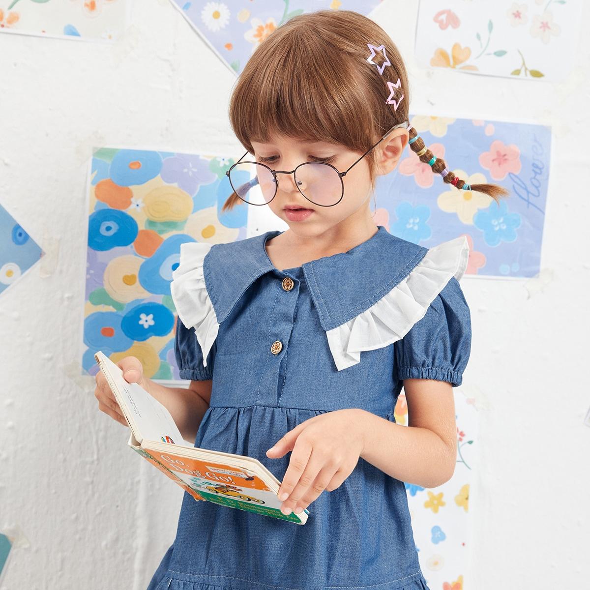 Джинсовое платье с оборками для девочек SheIn skdress25210427944