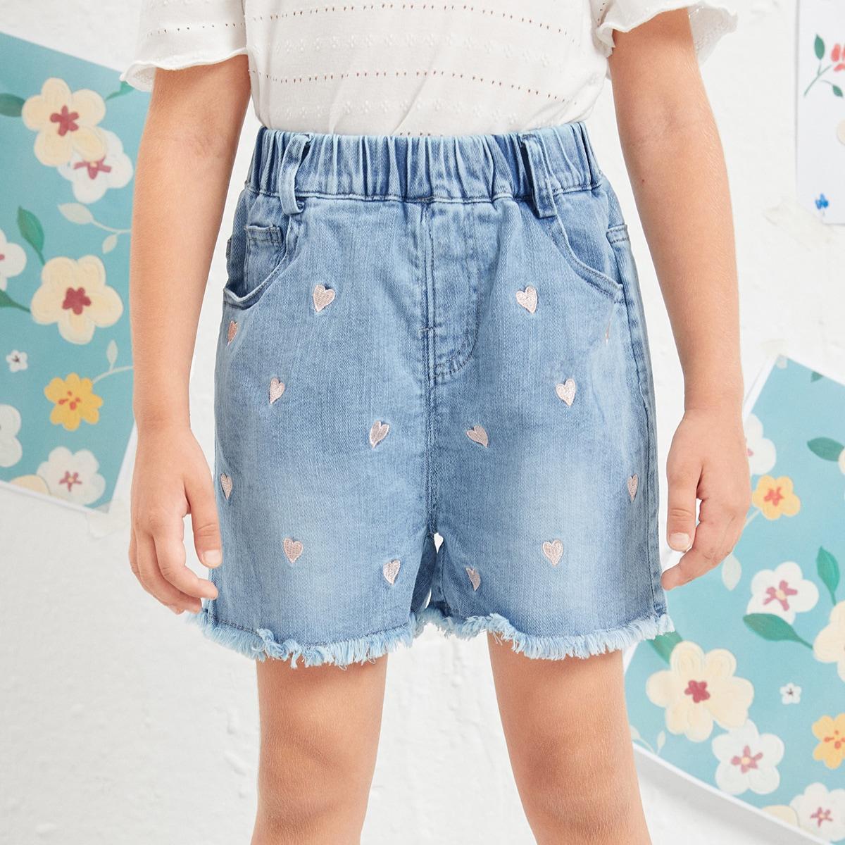 Toddler Girls Heart Embroidery Raw Hem Denim Shorts