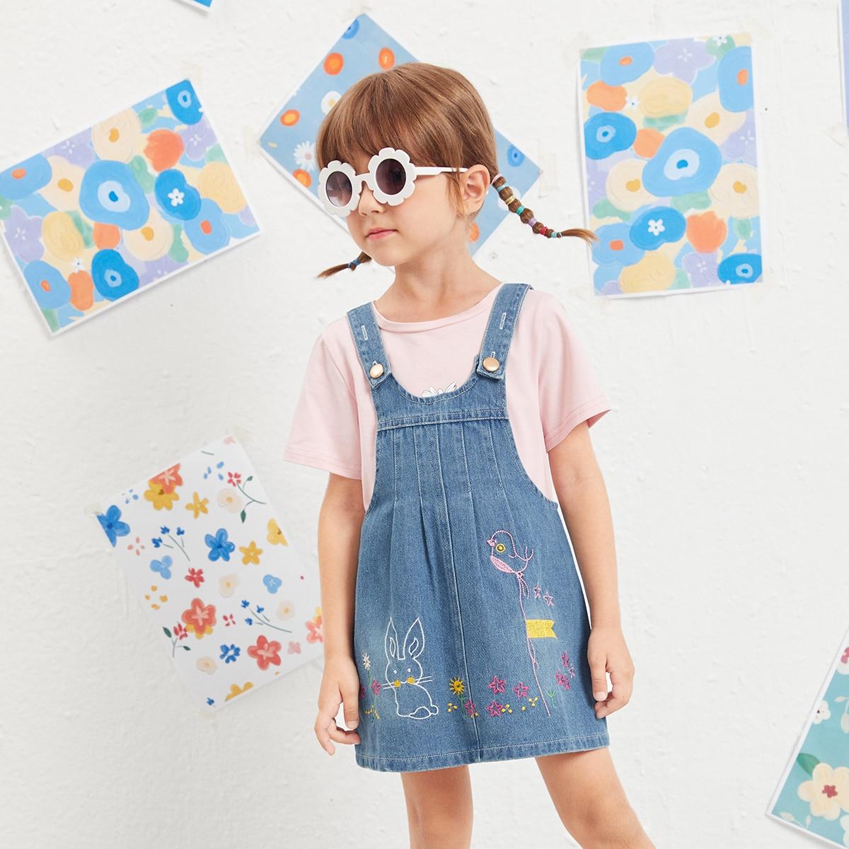 с вышивкой Мультяшный принт Институтский Джинсовые платья для девочек SheIn skdress25210417513