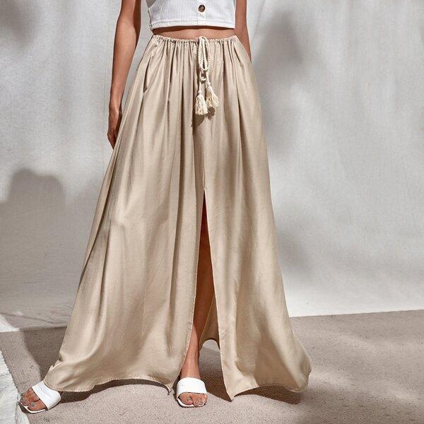 Split Hem Fringe Maxi Skirt, Khaki