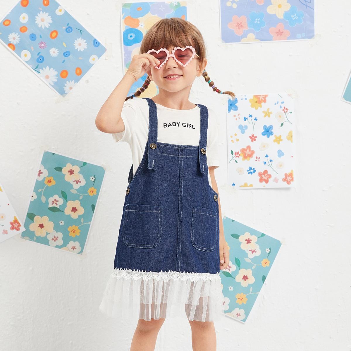 для девочек Платье-сарафан контрастный сетчатый джинсовый без футболки SheIn skdress25210609779