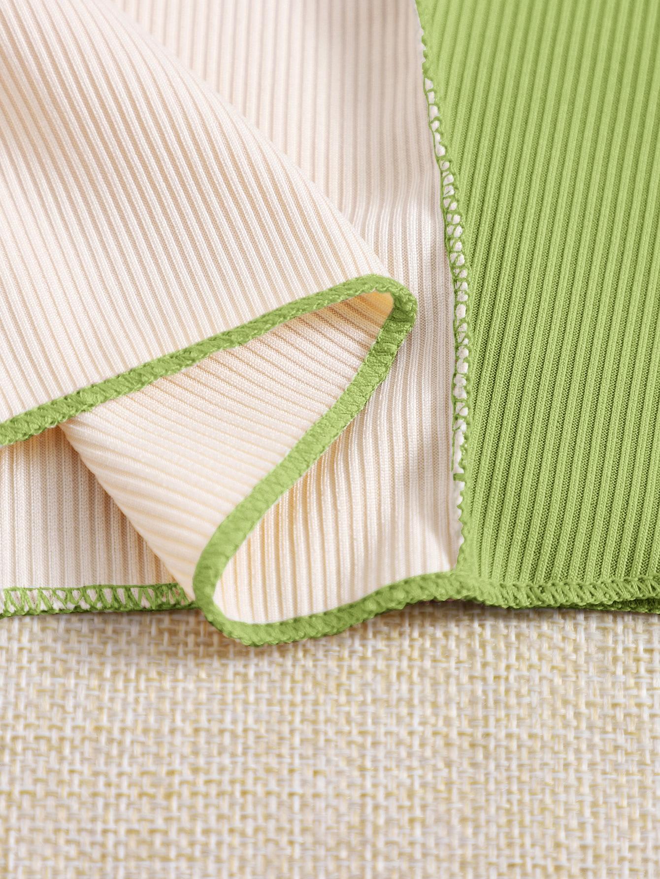 Stitch Trim Rib-knit Colorblock Tank Top