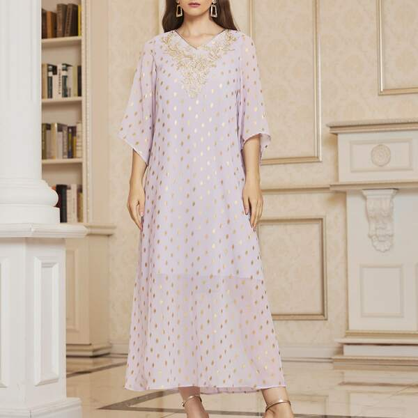 Embroidered Applique Yoke Gold Dot Bell Sleeve Dress, Lilac purple