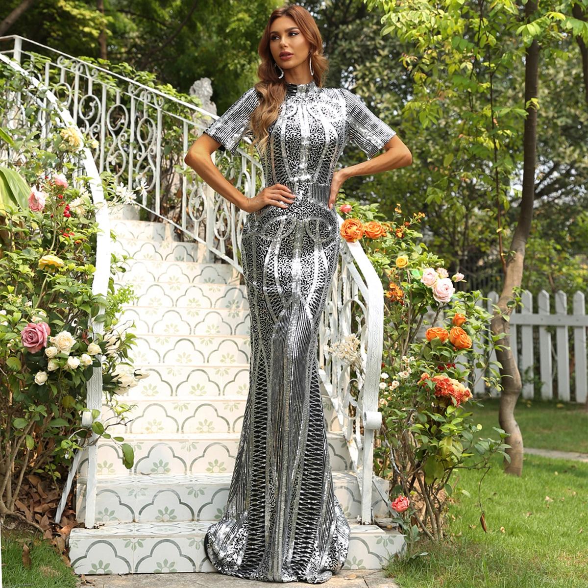 Платье для выпускного с блестками и воротником-стойкой от SHEIN