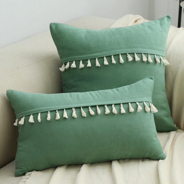 1pc Tassel Decor Cushion Cover Without Filler, Green