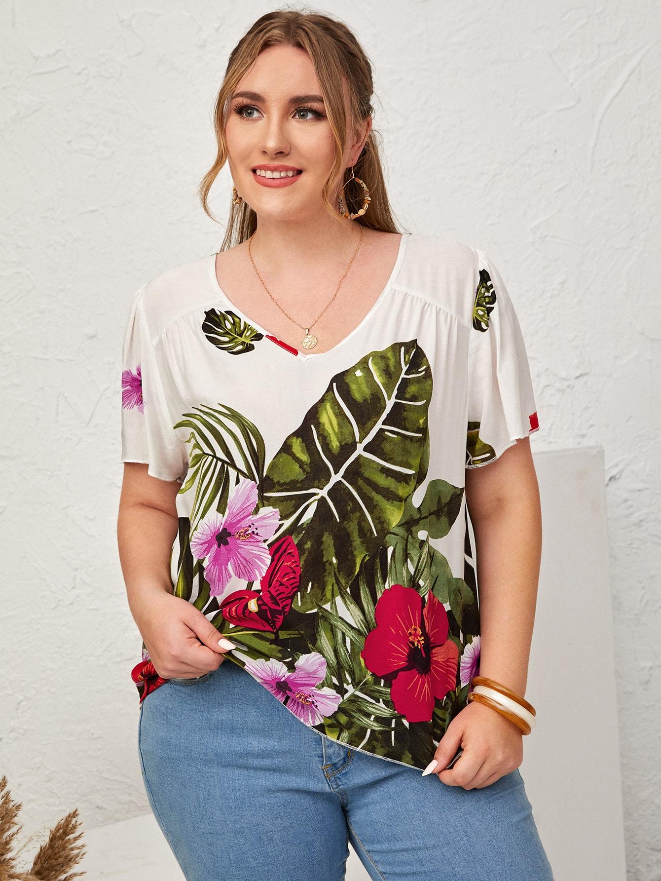 Plus Floral Print Blouse