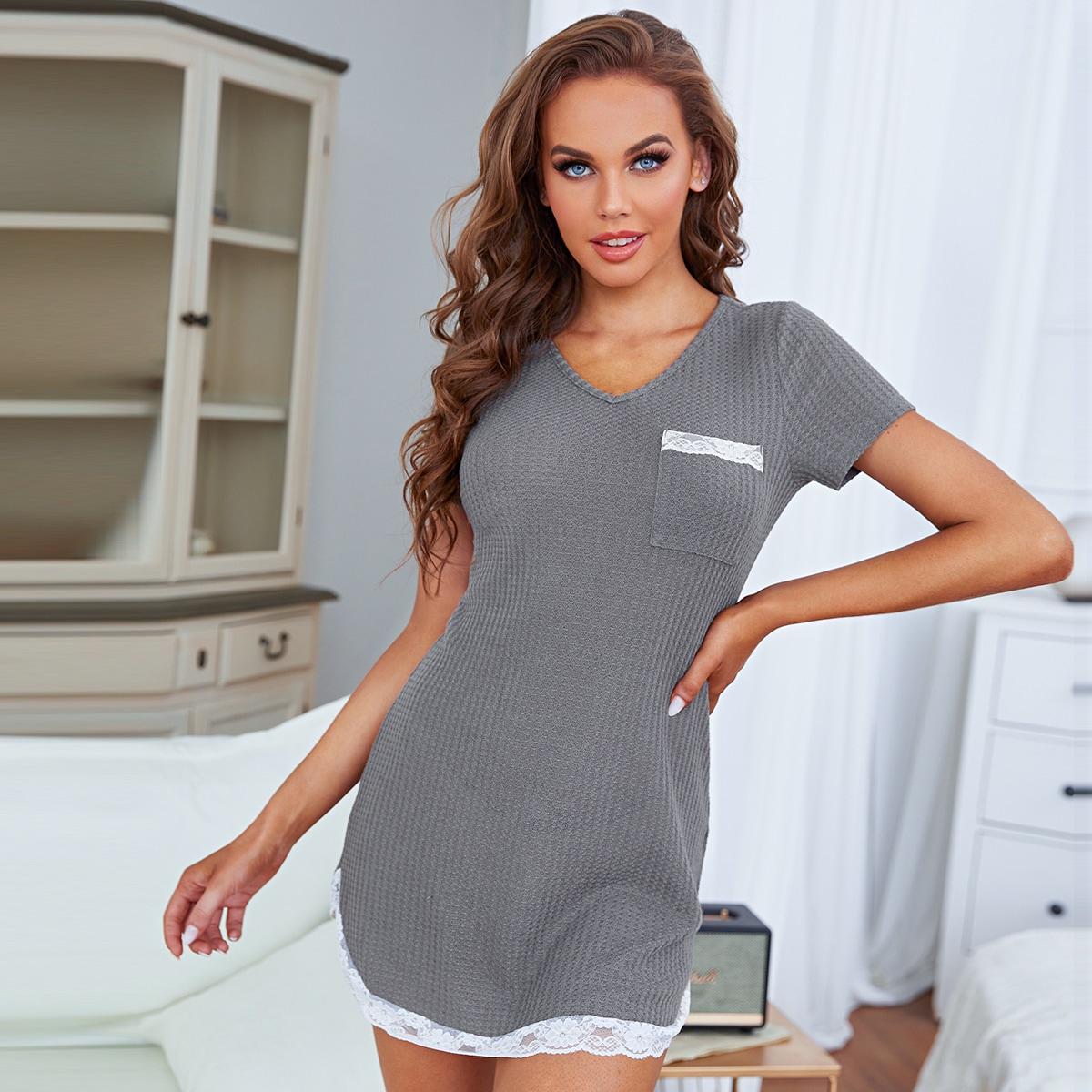 Контрастные кружева с карманами Повседневный Ночная рубашка