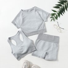 Absorbs Sweat Solid Tee & Shorts Sports Set With Bra