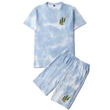 Guys Cactus Print Tie Dye Tee & Shorts