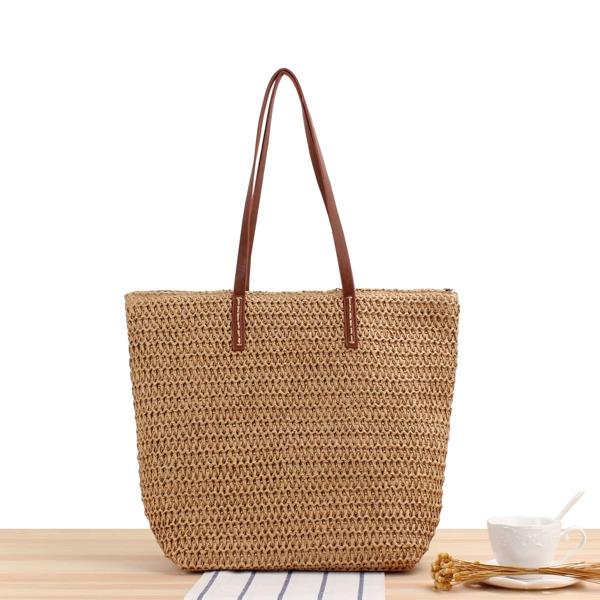 Minimalist Straw Tote Bag, Brown