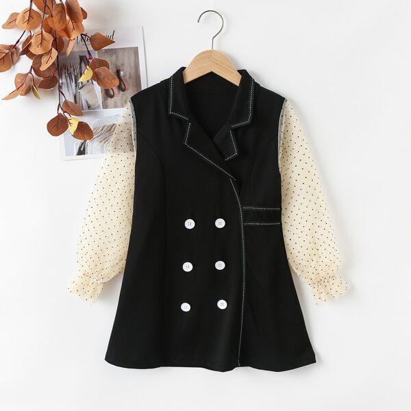 Girls Contrast Mesh Polka Dot Lapel Double Button Dress, Black