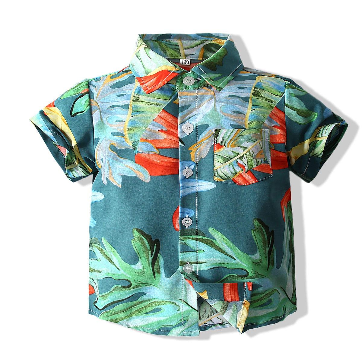 для мальчиков Рубашка с тропическим принтом на пуговицах